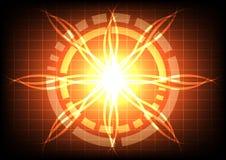 Cerchio astratto su tecnologia arancio di effetto del raggio luminoso Fotografia Stock Libera da Diritti