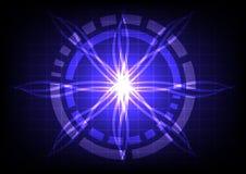 Cerchio astratto su tecnologia blu scuro di effetto del raggio luminoso Fotografie Stock Libere da Diritti