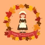 Cerchio Autumn Leaf Thanksgiving Girl Vector Fotografia Stock