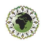 Cerchio bianco dei gallinacei su terra royalty illustrazione gratis