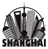 Cerchio in bianco e nero Outli dell'orizzonte della città di Shanghai Immagini Stock Libere da Diritti
