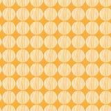 Cerchio bianco senza cuciture disegnato a mano un modello su fondo arancio immagini stock libere da diritti