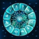 Cerchio blu dell'oroscopo del diamante Cerchio con i segni di zodiaco Vettore royalty illustrazione gratis