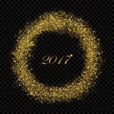 Cerchio brillante della pioggia della polvere di stella dell'oro astratto da 2017 nuovi anni sugli alfa precedenti Rich Golden Ex Immagini Stock