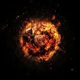Cerchio bruciante - arancia - isolato su un fondo scuro royalty illustrazione gratis