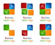 cerchio colorato 3D nel logo quadrato Immagine Stock
