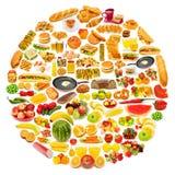 Cerchio con i lotti di alimento Fotografia Stock