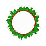 Cerchio con le foglie sante di Natale Fotografia Stock