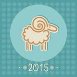 Cerchio decorativo delle pecore di Natale lineare Fotografie Stock Libere da Diritti