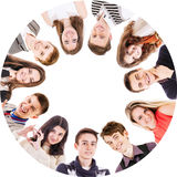 Cerchio degli amici isolati su bianco Immagine Stock Libera da Diritti