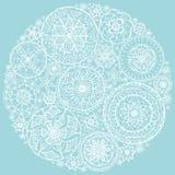 Cerchio dei centrini rotondi del pizzo Fotografia Stock