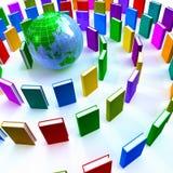 Cerchio dei libri variopinti intorno ad un globo Fotografia Stock