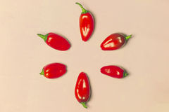 Cerchio dei peperoni dolci rossi su fondo rosa Fotografia Stock Libera da Diritti