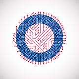 Cerchio del circuito di vettore, astrazione di tecnologie digitali Schema blu e rosso del microprocessore del computer royalty illustrazione gratis