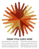 Cerchio del disegno di sovrapposizione delle mani. Fotografia Stock Libera da Diritti