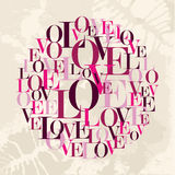 Cerchio del testo di amore del biglietto di S. Valentino Immagine Stock