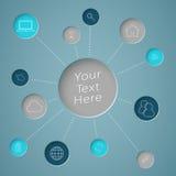 Cerchio del testo di Infographic con i collegamenti alle icone di web Fotografia Stock