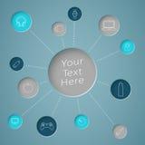Cerchio del testo di Infographic con i collegamenti per obiettare le icone Fotografia Stock