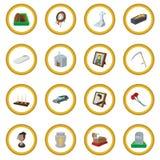 Cerchio dell'icona del fumetto di sepoltura e di funerale royalty illustrazione gratis