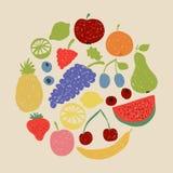 Cerchio della frutta di scarabocchio nei retro colori Fotografia Stock