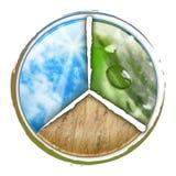 Cerchio della natura delle tre parti con il frumento delle nubi Fotografia Stock Libera da Diritti