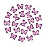 Cerchio delle farfalle rosa su un fondo bianco royalty illustrazione gratis