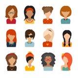 Cerchio delle icone piane su fondo bianco Carattere della donna Immagine Stock