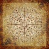 Cerchio dello zodiaco su documento molto vecchio Immagine Stock