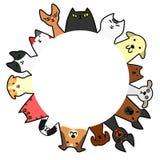 Cerchio di Dogs&cats con lo spazio della copia Fotografia Stock