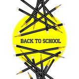 Cerchio di giallo della matita di vettore di nuovo alla scuola Immagini Stock Libere da Diritti