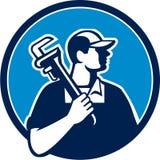 Cerchio di Holding Pipe Wrench dell'idraulico retro Fotografia Stock