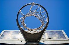 Cerchio di pallacanestro da sotto fotografia stock libera da diritti