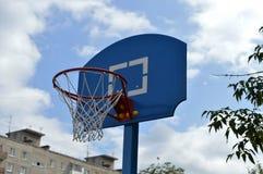 Cerchio di pallacanestro e griglia bianca Immagine Stock