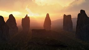 Cerchio di pietra al tramonto Fotografia Stock Libera da Diritti