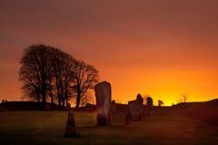 Cerchio di pietra di Avebury Fotografie Stock