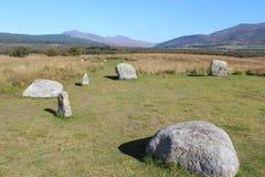Cerchio di pietra piano sull'isola di Arran Immagini Stock