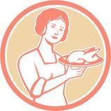 Cerchio di Serving Chicken Roast della casalinga retro Fotografia Stock