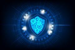 Cerchio di tecnologia con sicurezza ed ingranaggio su fondo blu, illustrazione di vettore immagine stock libera da diritti