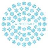 Cerchio di vendita di inverno con i cristalli di neve illustrazione di stock
