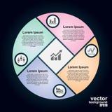 Cerchio di vettore infographic Modello per il diagramma del ciclo Fotografie Stock Libere da Diritti