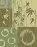 Cerchio di zen e fondo verde d'annata del bambù Fotografie Stock Libere da Diritti