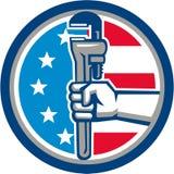 Cerchio dritto della bandiera di Hand Pipe Wrench U.S.A. dell'idraulico retro Fotografie Stock