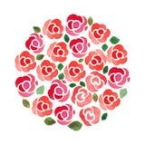 Cerchio fatto dalle rose dipinte a mano dell'acquerello Immagini Stock