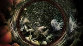 Cerchio grigio di marrone di previsione di astrologia di turbinio dell'inchiostro illustrazione vettoriale
