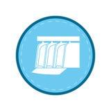 Cerchio idroelettrico del blu della diga dell'acqua della pianta della stazione illustrazione di stock