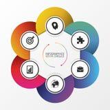 Cerchio infographic Concetto di affari con sei opzioni Vettore Immagini Stock