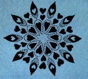 Cerchio modellato forme nere disegnate a mano del cuore Fotografia Stock Libera da Diritti
