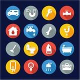 Cerchio piano di progettazione delle icone dell'impianto idraulico Fotografie Stock