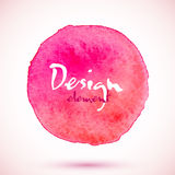 Cerchio rosa dell'acquerello, elemento di progettazione di vettore Immagine Stock