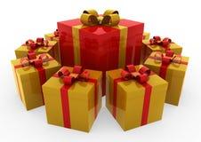 cerchio rosso del contenitore di regalo dell'oro 3d Immagini Stock